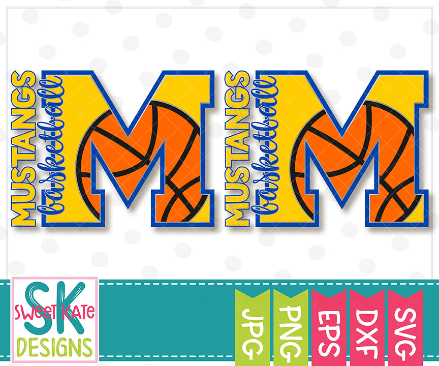M Mustangs Basketball SVG DXF EPS PNG JPG - Sweet Kate Designs