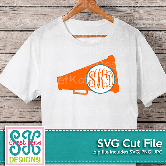 Megaphones with Monogram Option SVG - Sweet Kate Designs