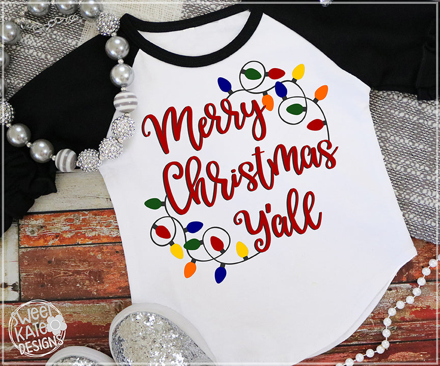 Merry Christmas Y'all with Lights SVG DXF EPS PNG JPG - Sweet Kate Designs