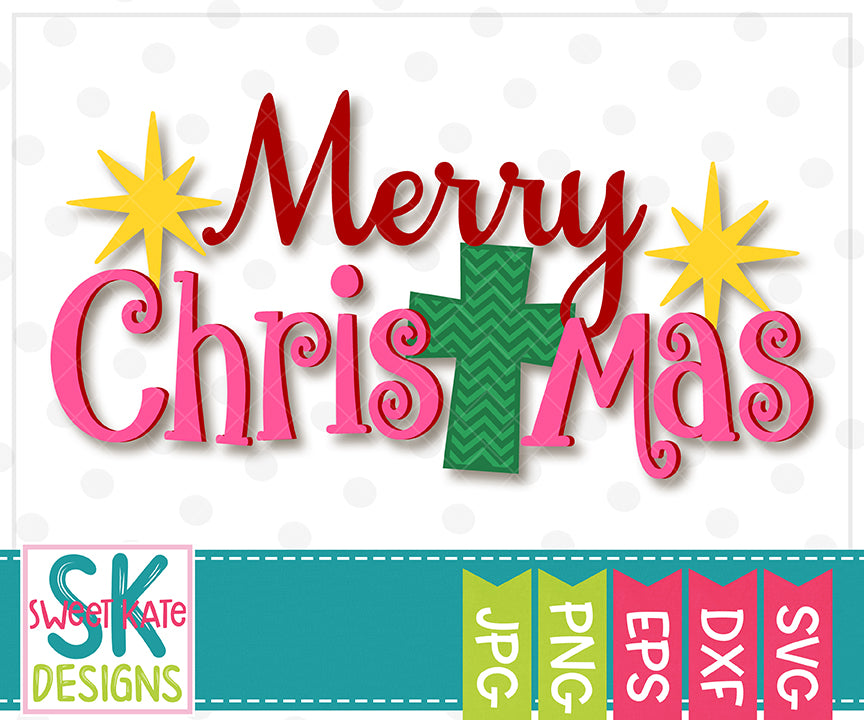 Merry Christmas with Cross SVG DXF EPS PNG JPG - Sweet Kate Designs