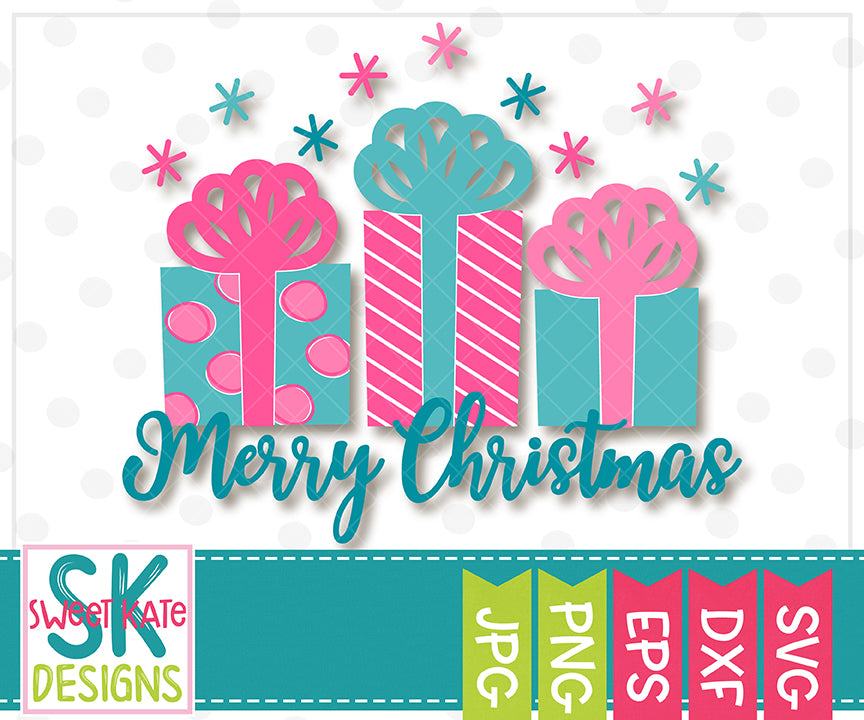 Merry Christmas with Presents SVG DXF EPS PNG JPG - Sweet Kate Designs