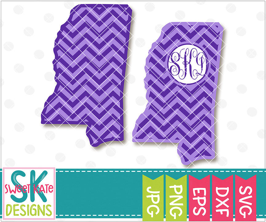 Mississippi with Monogram Option Chevron SVG DXF EPS PNG JPG - Sweet Kate Designs