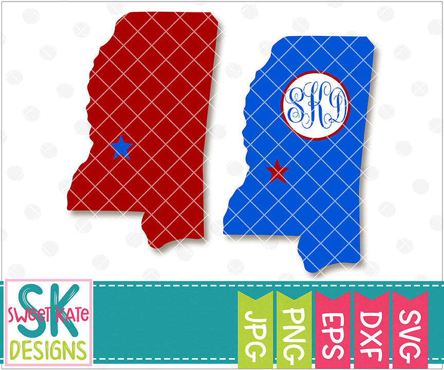 Mississippi with Monogram Option SVG DXF EPS PNG JPG - Sweet Kate Designs
