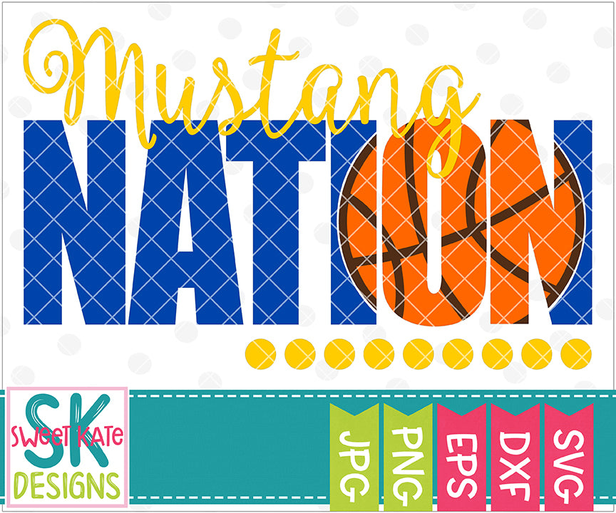 Mustang Nation with Knockout Basketball SVG DXF EPS PNG JPG - Sweet Kate Designs