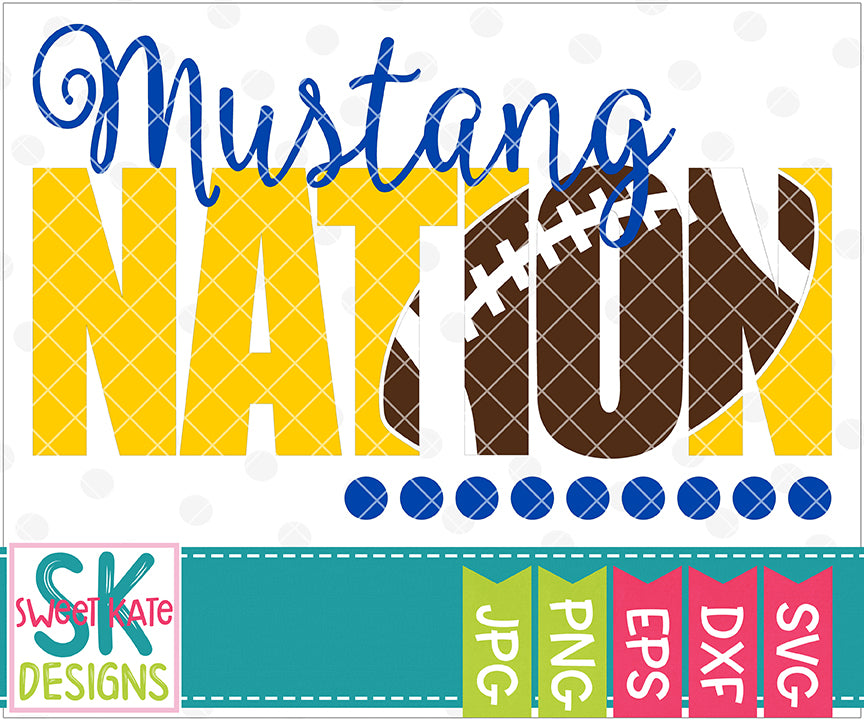 Mustang Nation with Knockout Football SVG DXF EPS PNG JPG - Sweet Kate Designs