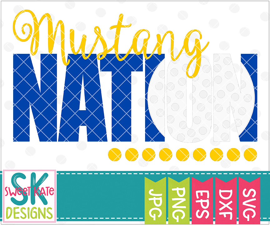 Mustang Nation with Knockout Golf Ball SVG DXF EPS PNG JPG - Sweet Kate Designs