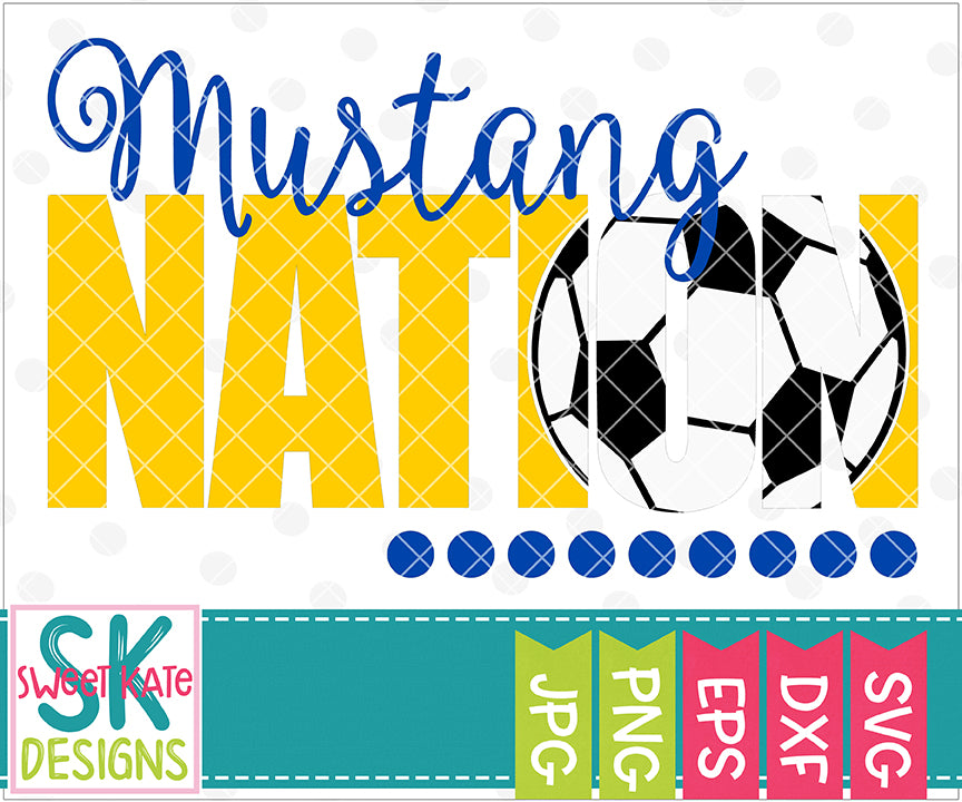 Mustang Nation with Knockout Soccer Ball SVG DXF EPS PNG JPG - Sweet Kate Designs