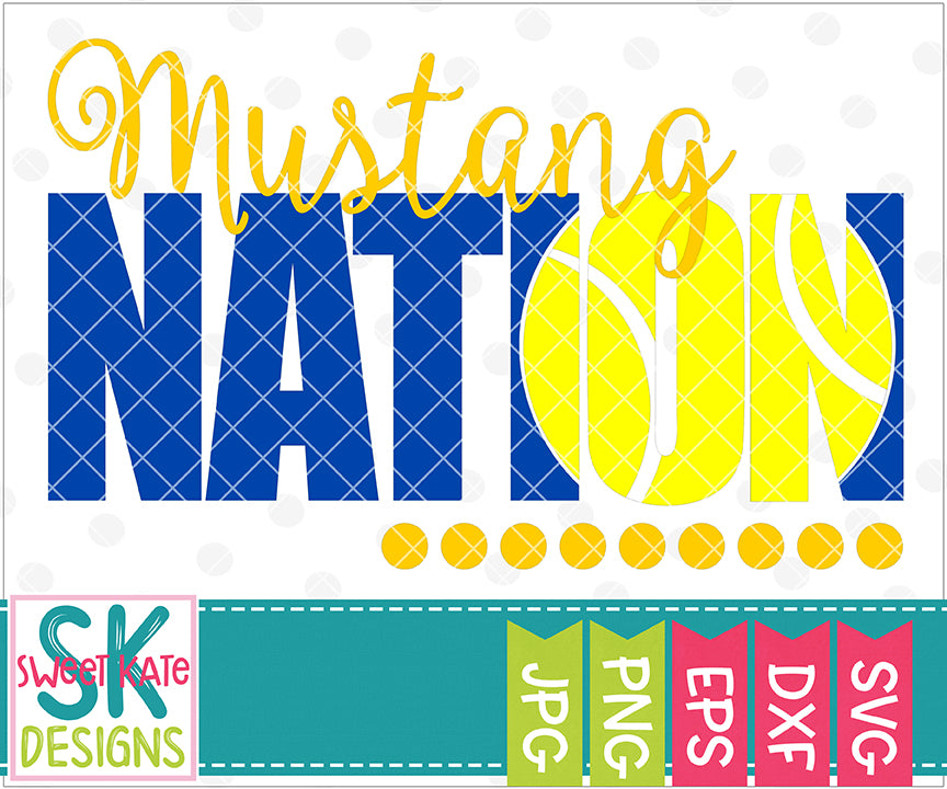 Mustang Nation with Knockout Tennis Ball SVG DXF EPS PNG JPG - Sweet Kate Designs