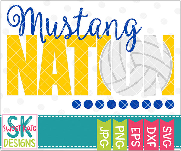 Mustang Nation with Knockout Volleyball SVG DXF EPS PNG JPG - Sweet Kate Designs