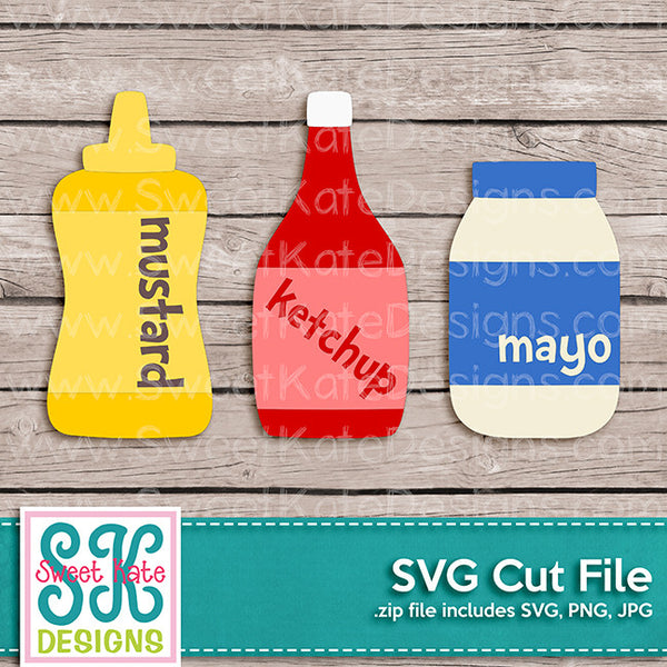 Mustard Ketchup Mayo SVG - Sweet Kate Designs