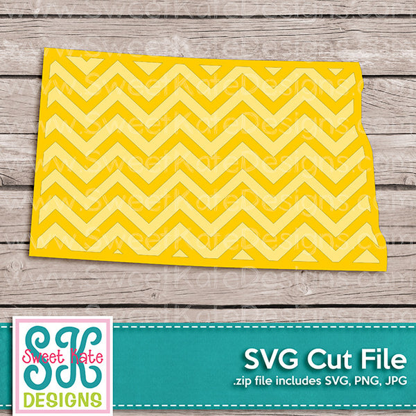 North Dakota with Chevron Pattern SVG - Sweet Kate Designs