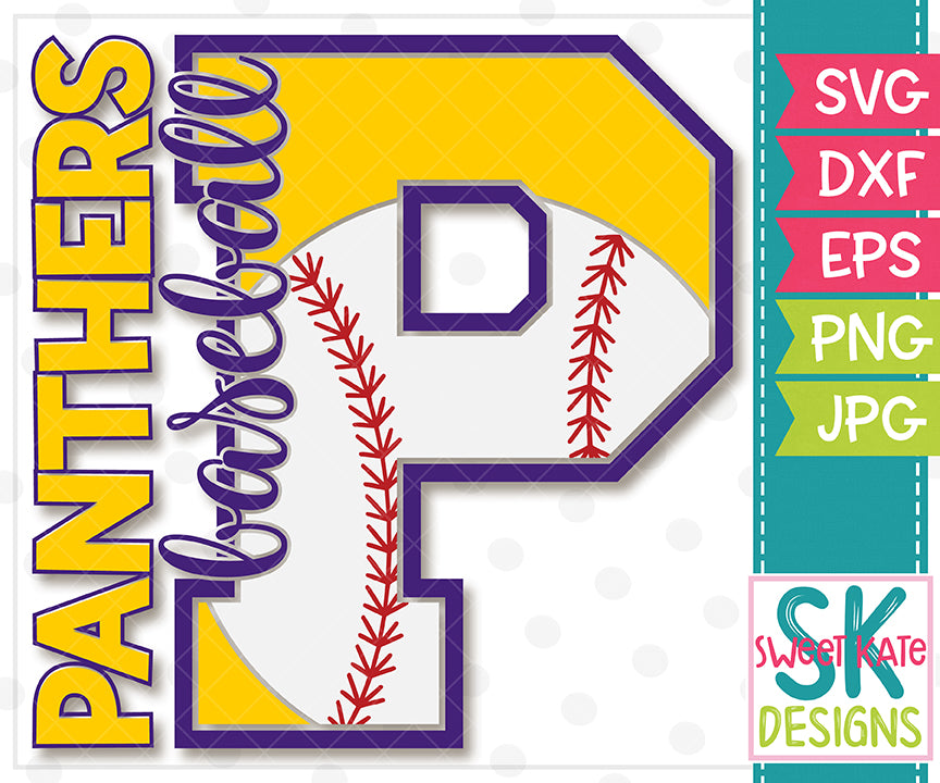 P Panthers Baseball SVG DXF EPS PNG JPG - Sweet Kate Designs