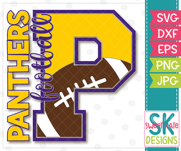 P Panthers Football SVG DXF EPS PNG JPG - Sweet Kate Designs
