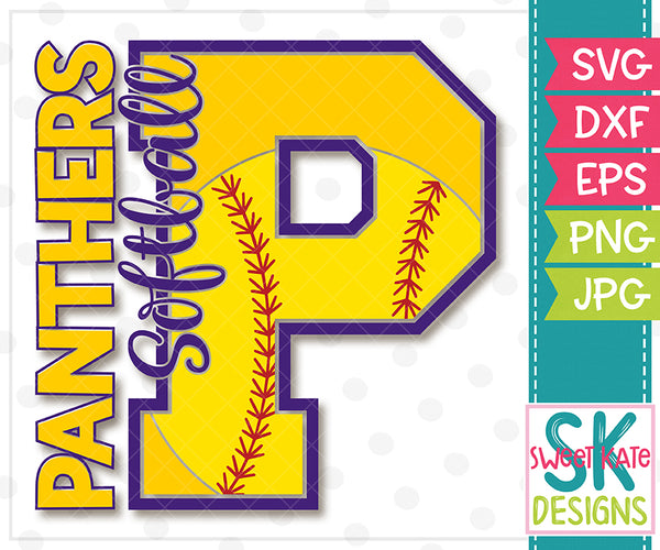 P Panthers Softball SVG DXF EPS PNG JPG - Sweet Kate Designs