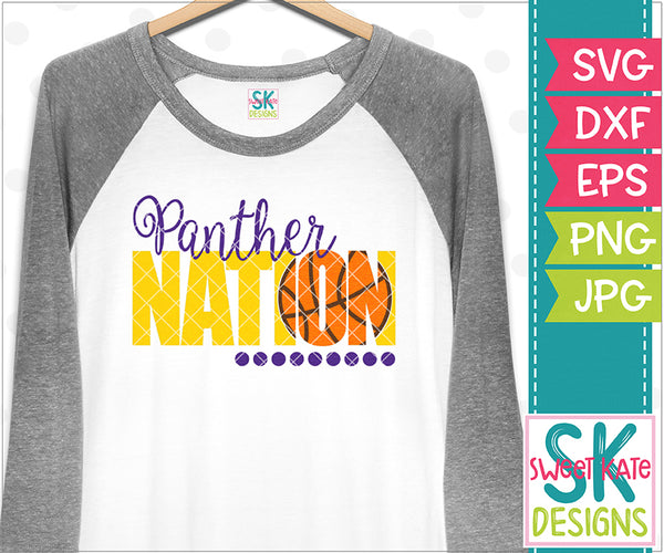 Panther Nation with Knockout Basketball SVG DXF EPS PNG JPG - Sweet Kate Designs