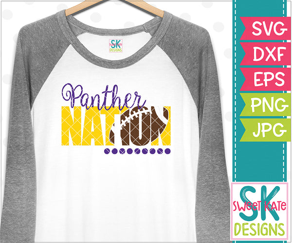Panther Nation with Knockout Football SVG DXF EPS PNG JPG - Sweet Kate Designs