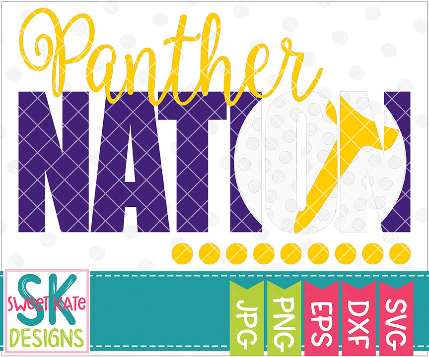 Panther Nation with Knockout Golf Ball SVG DXF EPS PNG JPG - Sweet Kate Designs