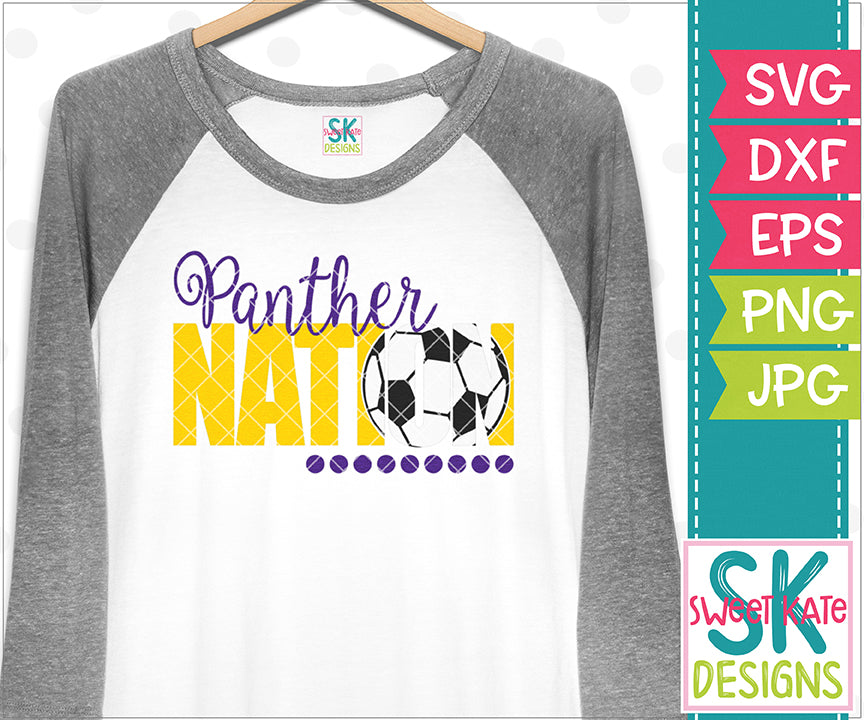 Panther Nation with Knockout Soccer Ball SVG DXF EPS PNG JPG - Sweet Kate Designs