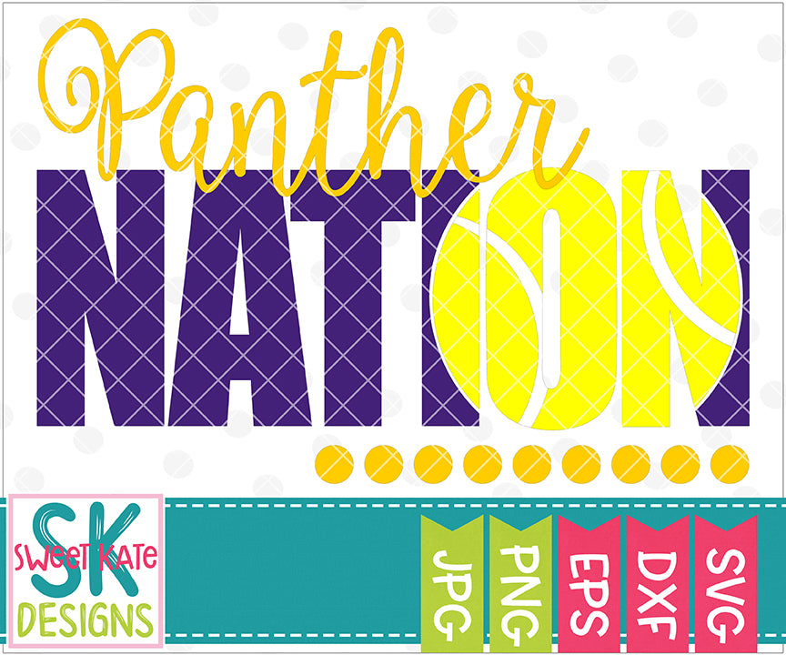 Panther Nation with Knockout Tennis Ball SVG DXF EPS PNG JPG - Sweet Kate Designs