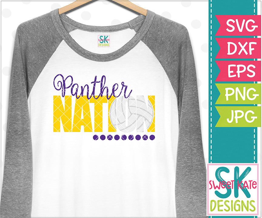 Panther Nation with Knockout Volleyball SVG DXF EPS PNG JPG - Sweet Kate Designs