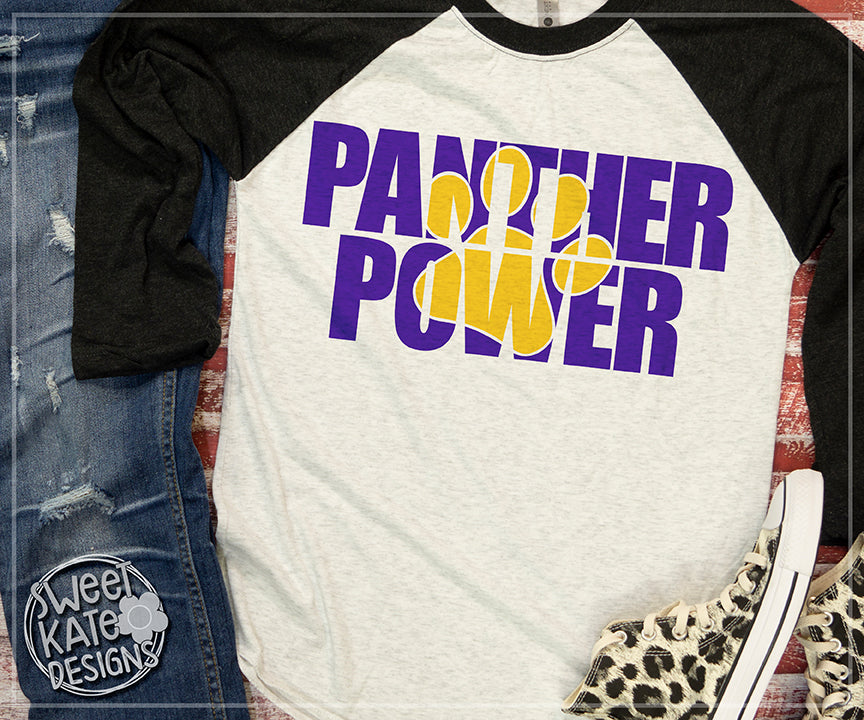 Panther Power with Knockout Paw Print SVG DXF EPS PNG JPG - Sweet Kate Designs