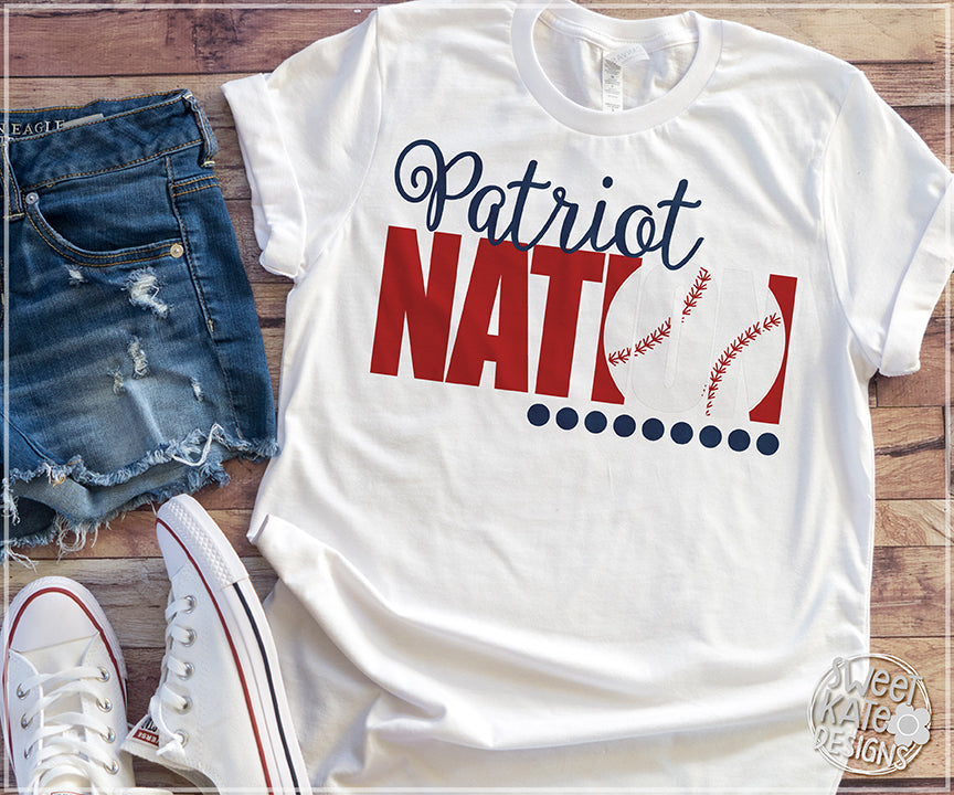 Patriot Nation with Knockout Baseball or Softball SVG DXF EPS PNG JPG - Sweet Kate Designs