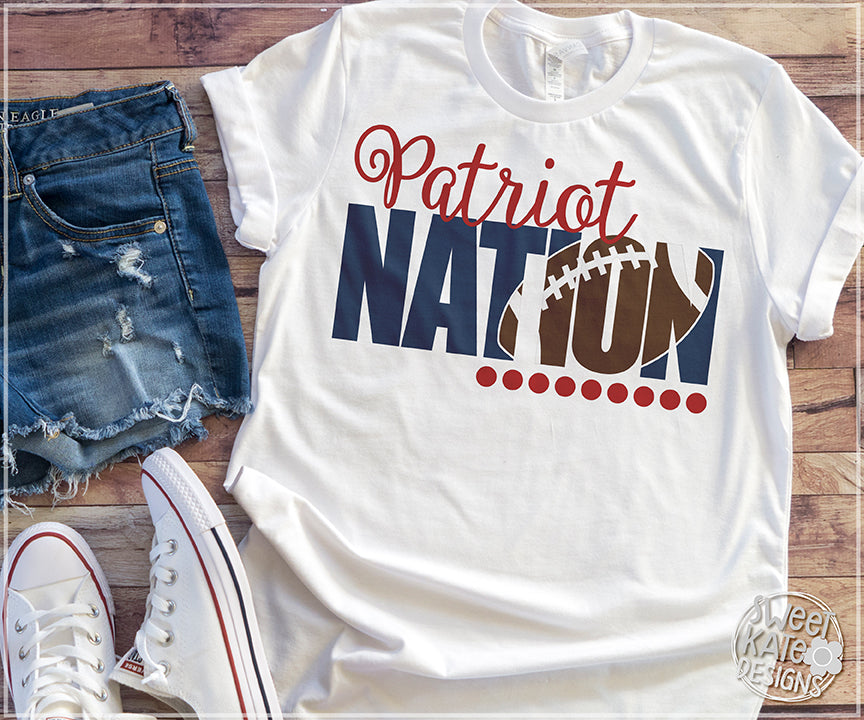 Patriot Nation with Knockout Football SVG DXF EPS PNG JPG - Sweet Kate Designs
