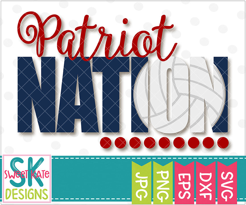 Patriot Nation with Knockout Volleyball SVG DXF EPS PNG JPG - Sweet Kate Designs