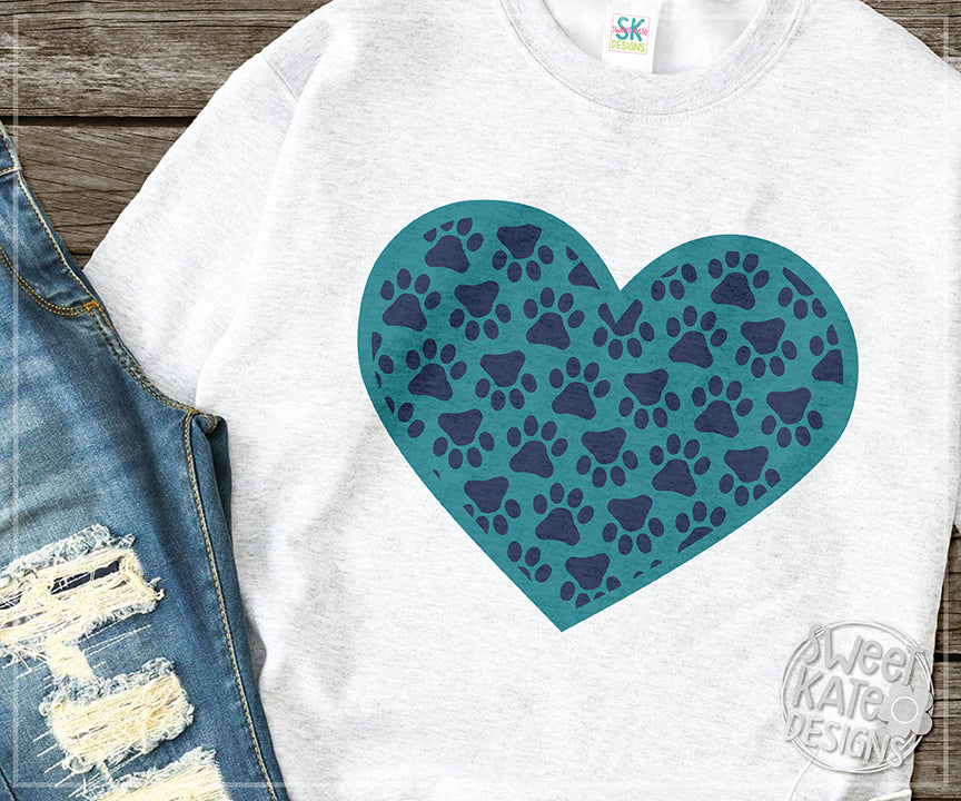 Paw Print Heart with Monogram Option SVG DXF EPS PNG JPG