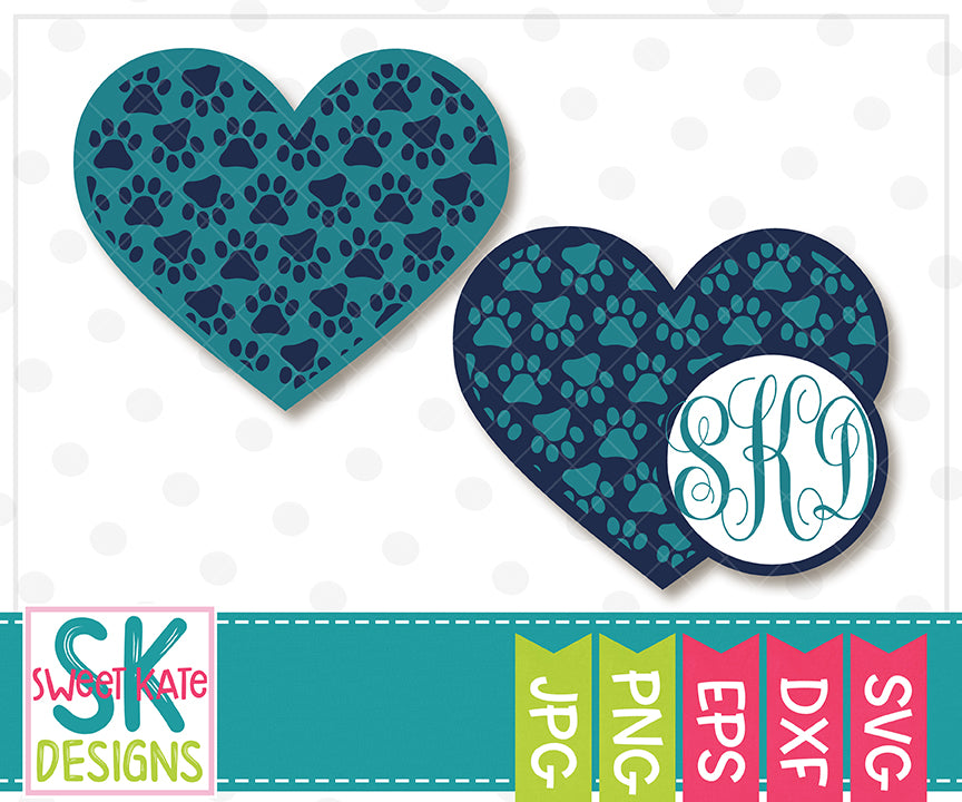 Paw Print Heart with Monogram Option SVG DXF EPS PNG JPG - Sweet Kate Designs