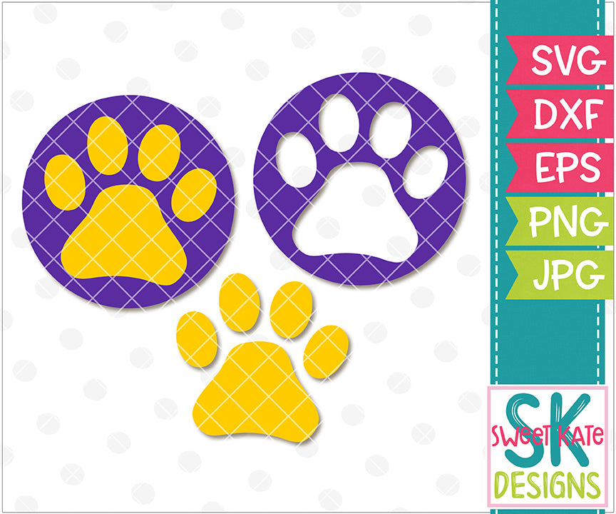 Paw Print SVG DXF EPS PNG JPG - Sweet Kate Designs