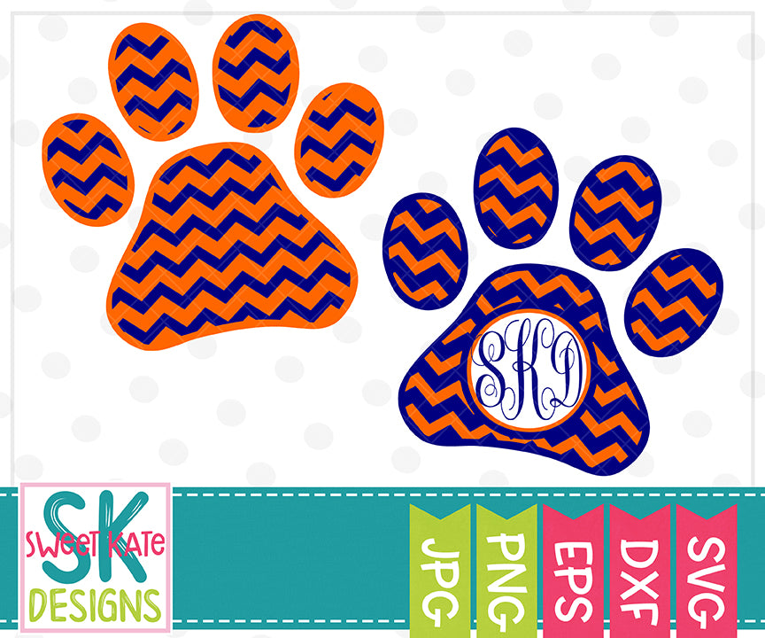 Paw Print with Monogram Option Chevron SVG DXF EPS PNG JPG - Sweet Kate Designs
