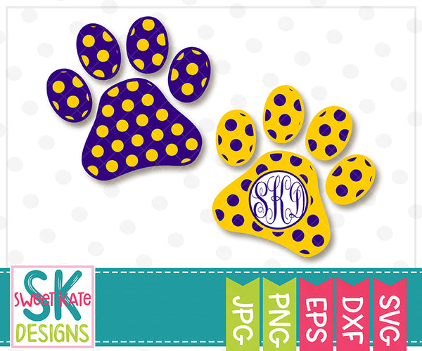 Paw Print with Monogram Option Polka Dot SVG DXF EPS PNG JPG - Sweet Kate Designs