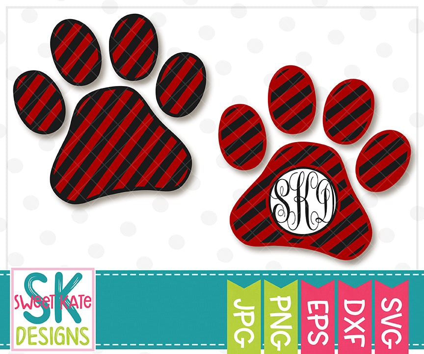 Paw Print with Monogram Option Stripe SVG DXF EPS PNG JPG - Sweet Kate Designs