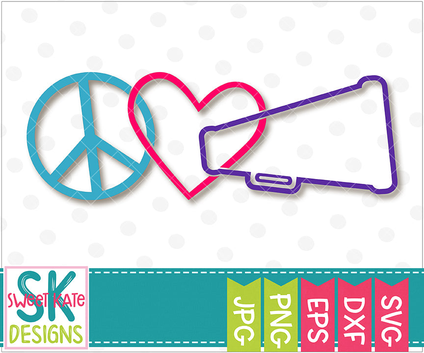 Peace Love Cheer SVG DXF EPS PNG JPG - Sweet Kate Designs