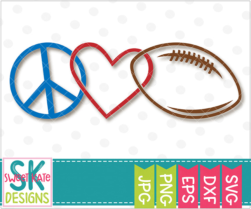 Peace Love Football SVG DXF EPS PNG JPG - Sweet Kate Designs