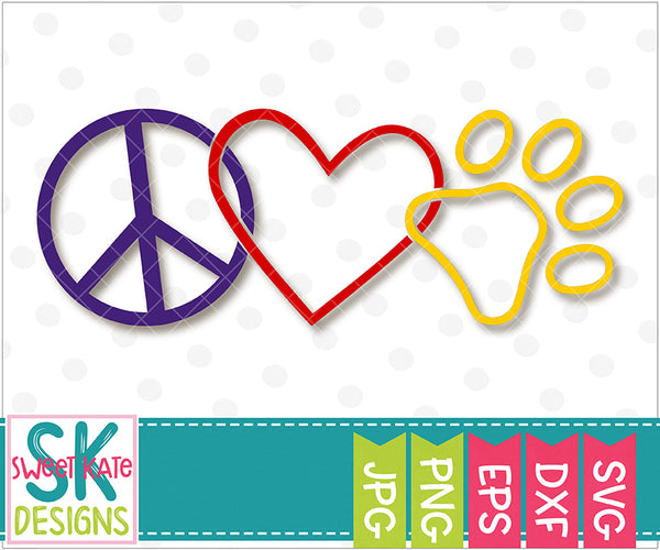 Peace Love Paw Print SVG DXF EPS PNG JPG - Sweet Kate Designs