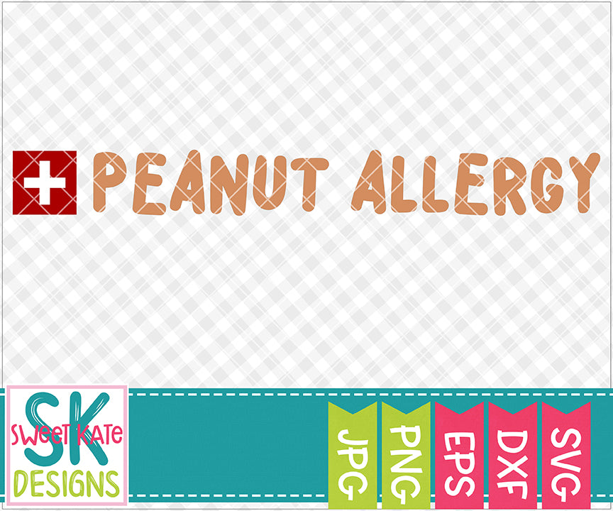 Peanut Allergy SVG DXF EPS PNG JPG - Sweet Kate Designs