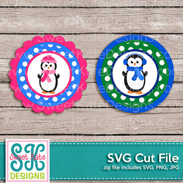 Penguin Flower Circle Polka Dot SVG - Sweet Kate Designs