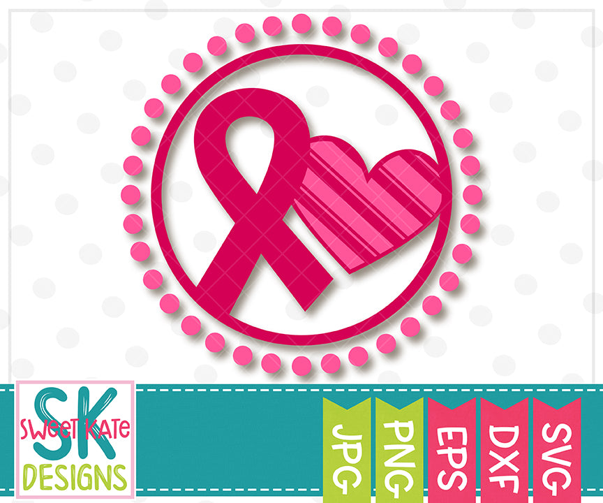 Pink Breast Cancer Awareness Ribbon with Heart in Circle SVG DXF EPS PNG JPG - Sweet Kate Designs