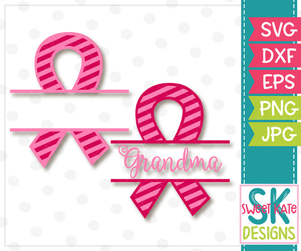 Pink Split Cancer Awareness Ribbon with Grandma Option Stripe SVG DXF EPS PNG JPG