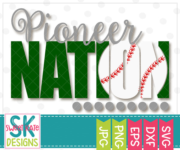 Pioneer Nation with Knockout Baseball or Softball SVG DXF EPS PNG JPG - Sweet Kate Designs