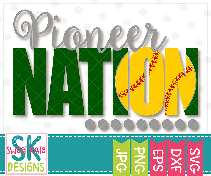 Pioneer Nation with Knockout Baseball or Softball SVG DXF EPS PNG JPG