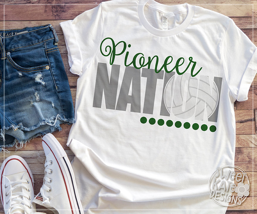 Pioneer Nation with Knockout Volleyball SVG DXF EPS PNG JPG