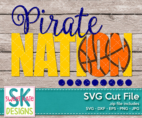 Pirate Nation with Knockout Basketball SVG DXF EPS PNG JPG - Sweet Kate Designs