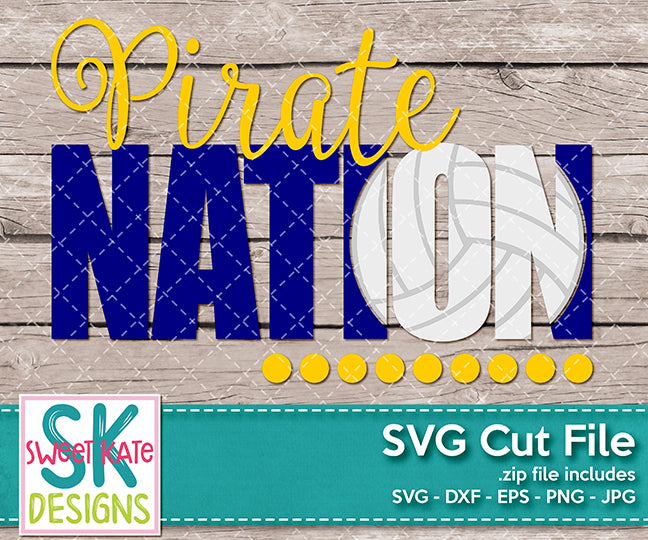 Pirate Nation with Knockout Volleyball SVG DXF EPS PNG JPG - Sweet Kate Designs