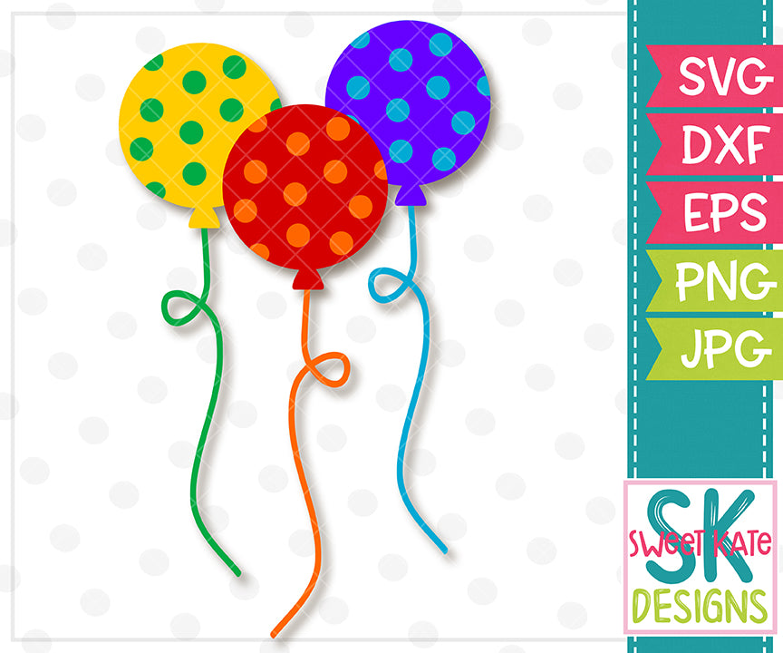 Polka Dot Balloons SVG DXF EPS PNG JPG - Sweet Kate Designs