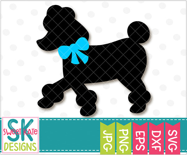 Poodle with Bow SVG DXF EPS PNG JPG - Sweet Kate Designs