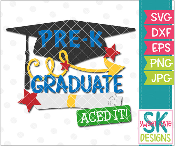 PreK Graduate SVG DXF EPS PNG JPG - Sweet Kate Designs