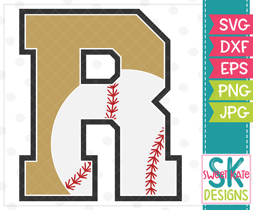 *NEW* R Baseball SVG DXF EPS PNG JPG - Sweet Kate Designs